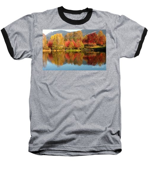 Baseball T-Shirt featuring the painting Early Fall At Lafarge Lake by Rod Jellison