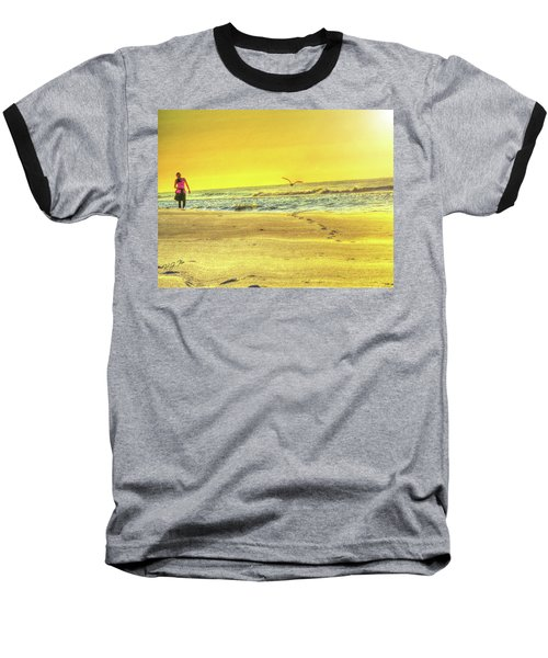 Early Morning Beach Walk Baseball T-Shirt