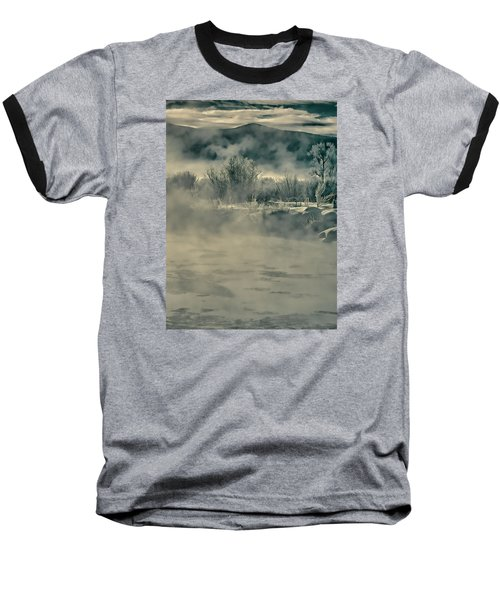 Baseball T-Shirt featuring the photograph Early Morning Frost On The River by Don Schwartz