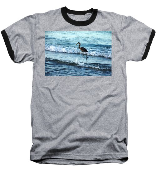 Early Morning Heron Beach Walk Baseball T-Shirt