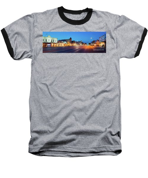 Early Morning Panorama Of Fredericksburg Main Street - Gillespie County Texas Hill Country Baseball T-Shirt
