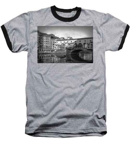 Baseball T-Shirt featuring the photograph Early Morning Ponte Vecchio Florence Italy by Joan Carroll