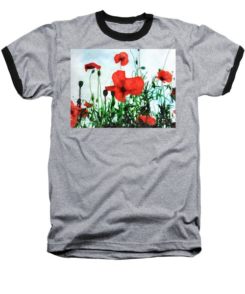 Early Morning Poppy Moment Baseball T-Shirt