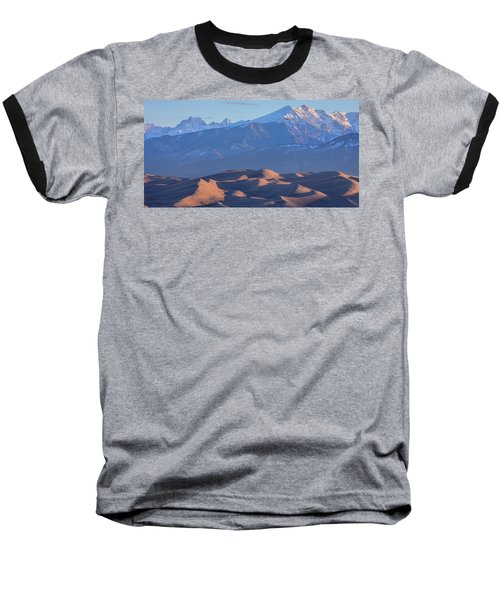 Early Morning Sand Dunes And Snow Covered Peaks Baseball T-Shirt by James BO Insogna