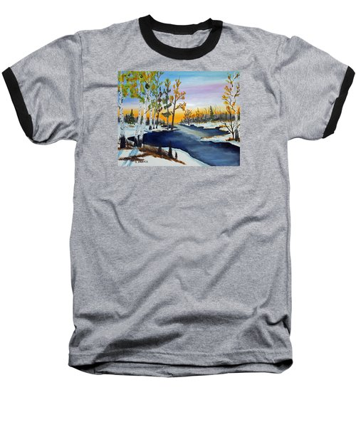 Early Snow Fall Baseball T-Shirt by Jack G Brauer