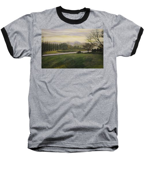 Baseball T-Shirt featuring the painting Early Spring On Ernie Lane by Ron Richard Baviello