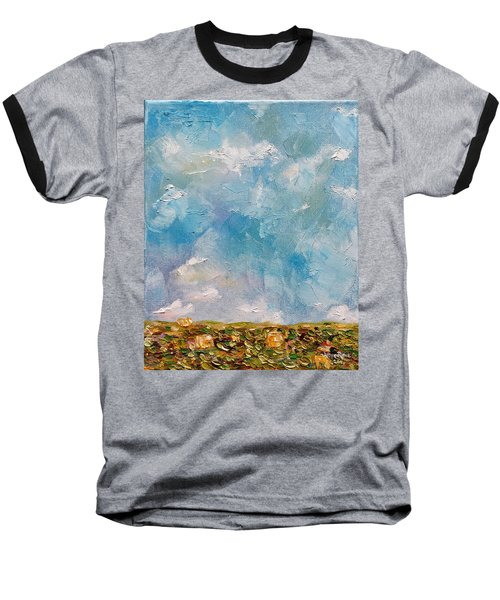 Baseball T-Shirt featuring the painting East Field Seedlings by Judith Rhue
