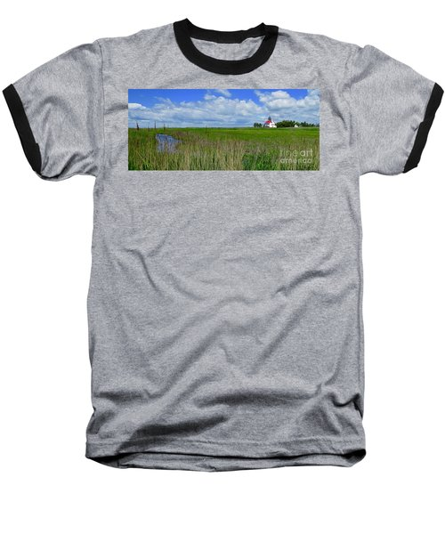 East Point Lighthouse Across The Marsh  Baseball T-Shirt by Nancy Patterson