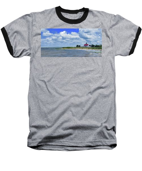 East Point Lighthouse At High Tide Baseball T-Shirt by Nancy Patterson