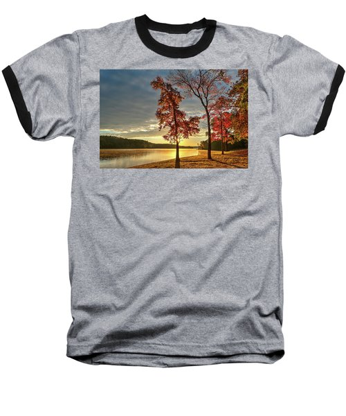 East Texas Autumn Sunrise At The Lake Baseball T-Shirt