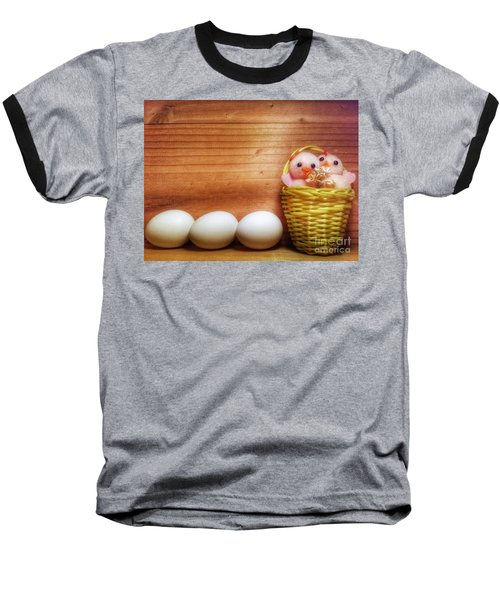 Easter Basket Of Pink Chicks With Eggs Baseball T-Shirt