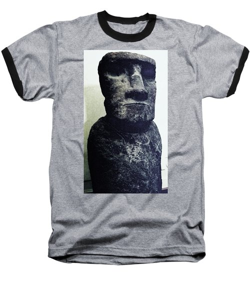 Baseball T-Shirt featuring the painting Easter Island Stone Statue by Eric  Schiabor