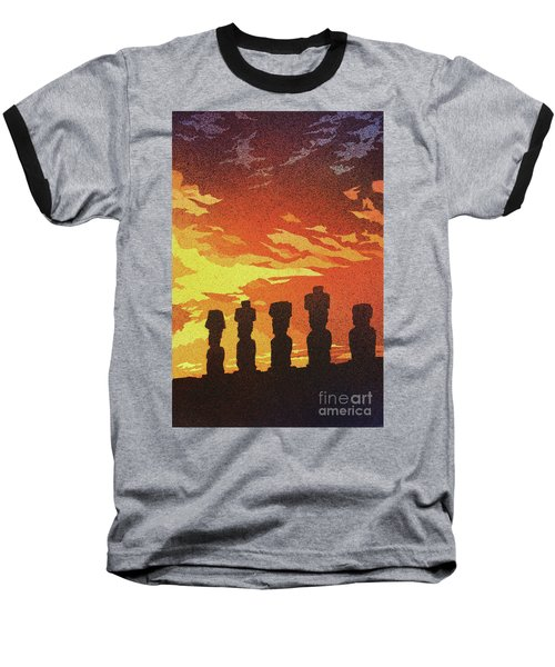 Easter Island Sunset Baseball T-Shirt by Ryan Fox