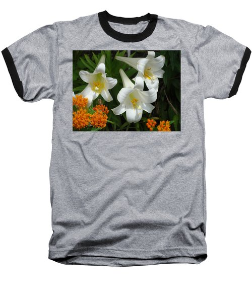 Easter Lilies And Butterfly Weed Baseball T-Shirt