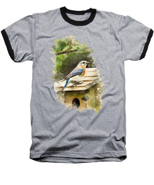 Baseball T-Shirt featuring the mixed media Eastern Bluebird Watercolor Art by Christina Rollo