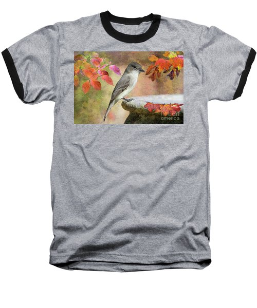 Eastern Phoebe In Autumn Baseball T-Shirt by Bonnie Barry