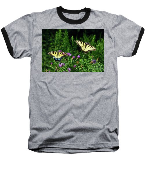Baseball T-Shirt featuring the photograph Eastern Tiger Swallowtail Butterfly - Female And Male  by Kerri Farley