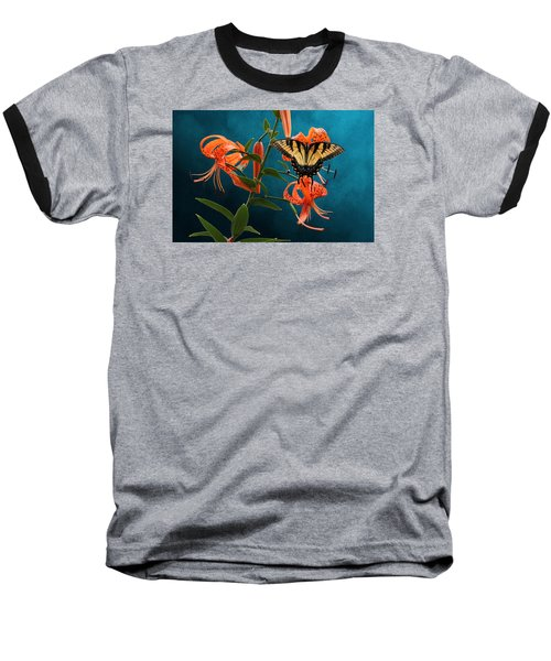 Eastern Tiger Swallowtail Butterfly On Orange Tiger Lily Baseball T-Shirt