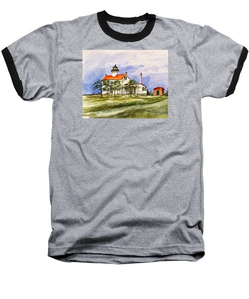 Baseball T-Shirt featuring the painting East Point Lighthouse Glory Days  by Nancy Patterson