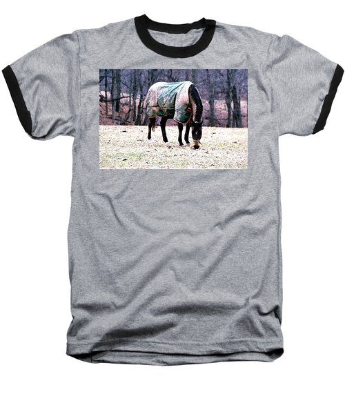 Baseball T-Shirt featuring the photograph Eatin' Snowy Grass by Polly Peacock