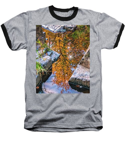 Baseball T-Shirt featuring the photograph Eau Claire Dells Fall Reflection by Trey Foerster