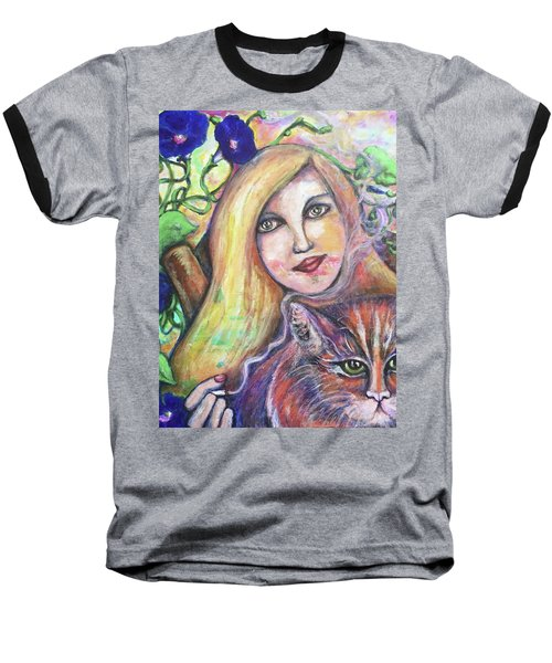 Baseball T-Shirt featuring the painting Eazybreezylazy Sunday by Rae Chichilnitsky