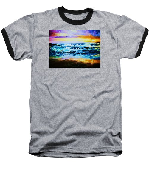 Baseball T-Shirt featuring the painting Ebb Tide At Sunset by Al Brown