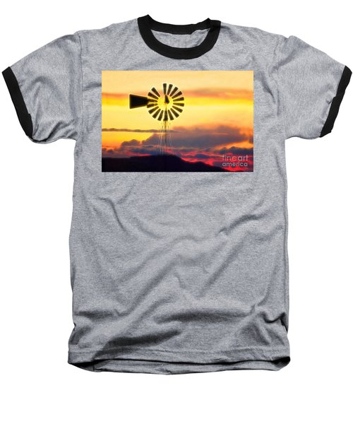 Eclipse Windmill In The Sunset Clouds Baseball T-Shirt by Wernher Krutein