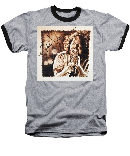 Baseball T-Shirt featuring the pyrography Eddie Vedder by Lance Gebhardt
