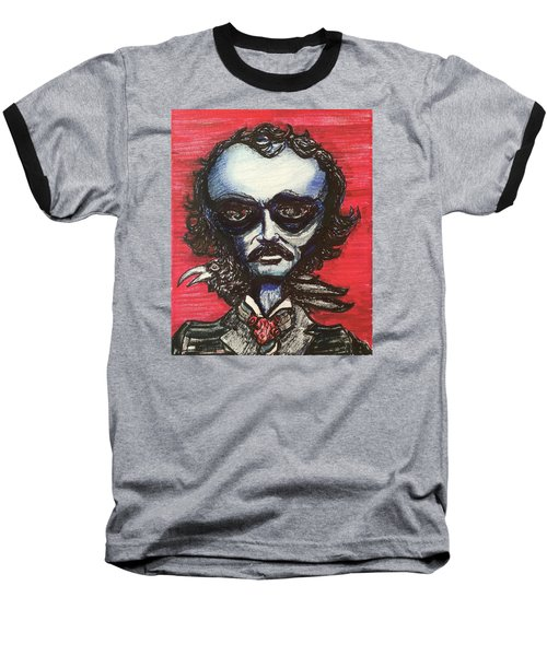Edgar Alien Poe Baseball T-Shirt by Similar Alien