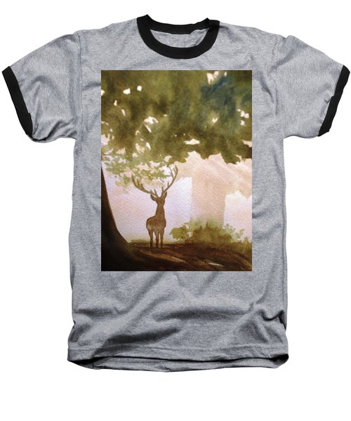 Baseball T-Shirt featuring the painting Edge Of The Forrest by Marilyn Jacobson