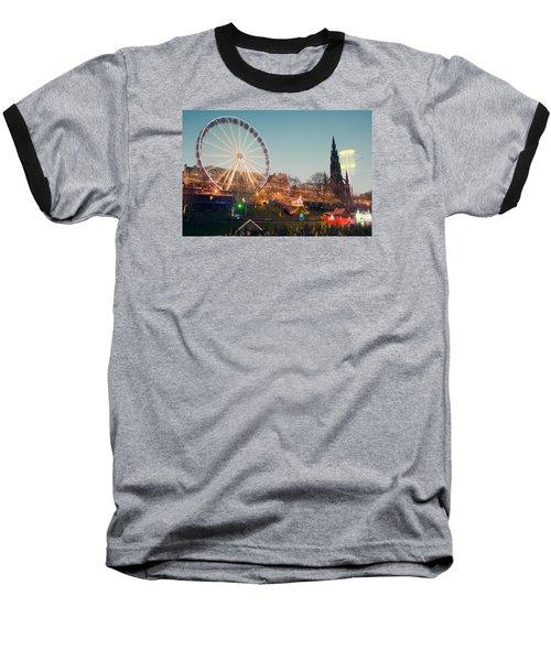 Edinburgh And The Big Wheel Baseball T-Shirt by Ray Devlin