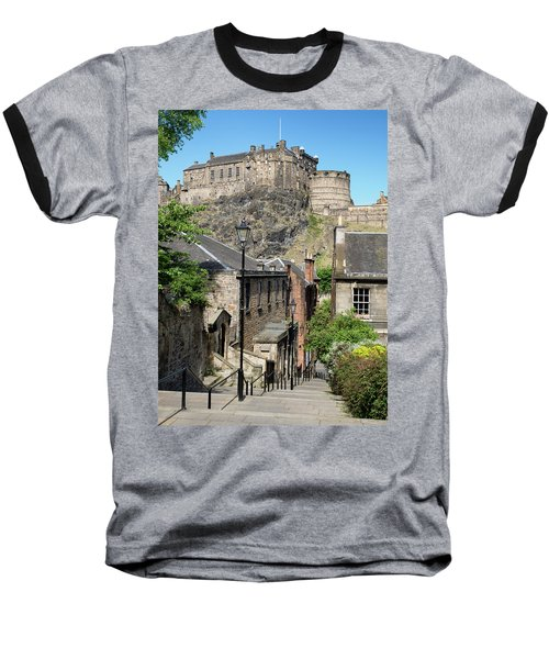 Baseball T-Shirt featuring the photograph Edinburgh Castle From The Vennel by Jeremy Lavender Photography