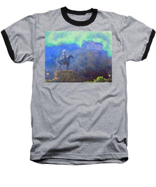 Edinburgh Castle Horse Statue Baseball T-Shirt