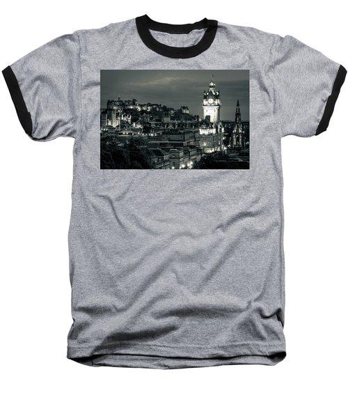 Edinburgh In Black And White Baseball T-Shirt