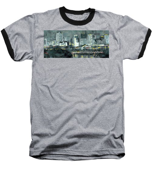 Edmonton Cityscape Painting Baseball T-Shirt