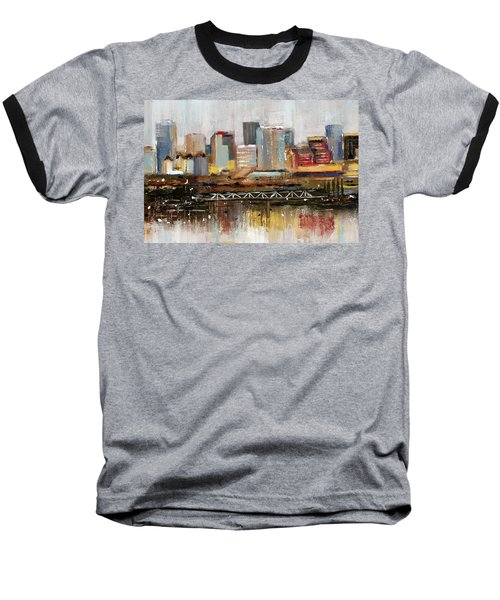 Edmonton Skyline Abstract1 Baseball T-Shirt