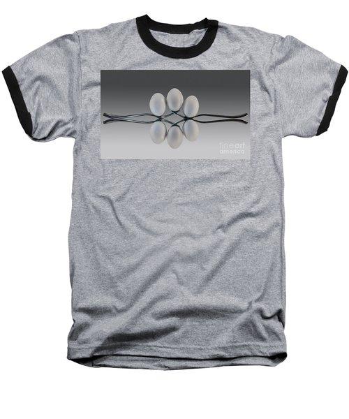 Egg Balance Baseball T-Shirt by Shirley Mangini