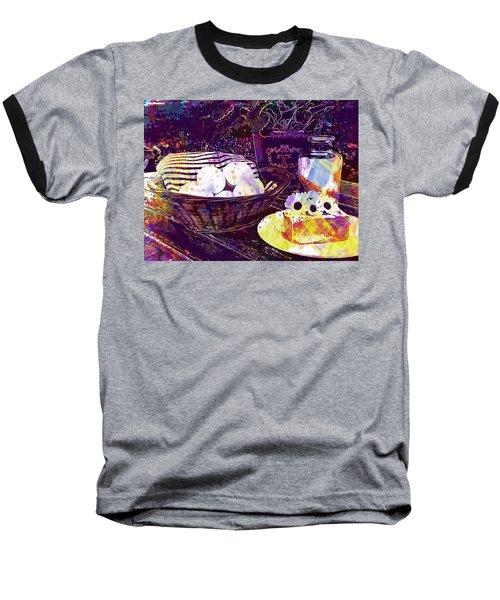 Baseball T-Shirt featuring the digital art Egg Milk Butter Out Garden Herbs  by PixBreak Art