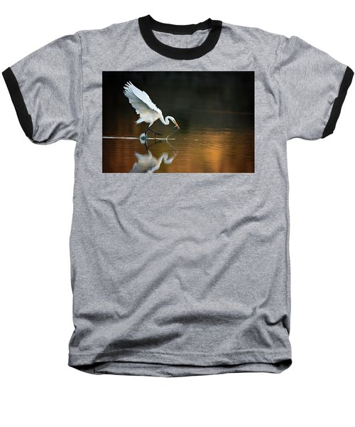 Egret At Sunset Baseball T-Shirt