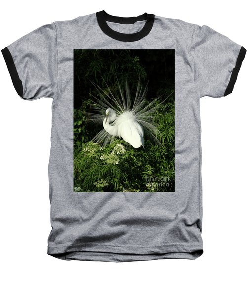 Egret Fan Dancer Baseball T-Shirt
