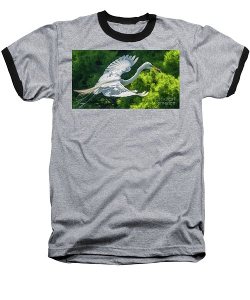 Egret Flying With Twigs Baseball T-Shirt