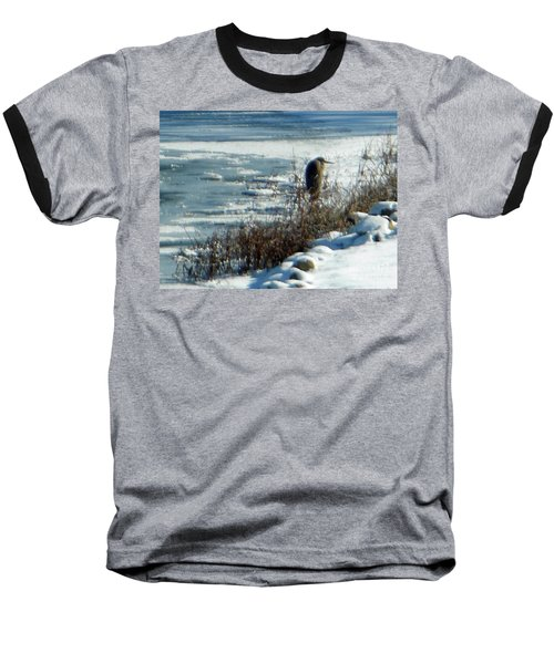 Egret Frozen Lake Baseball T-Shirt