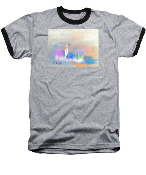 Egret Grace Abstract Baseball T-Shirt by Frank Bright