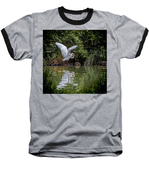 Egret Hunting For Lunch Baseball T-Shirt
