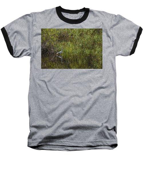 Egret Hunting In Reeds Baseball T-Shirt