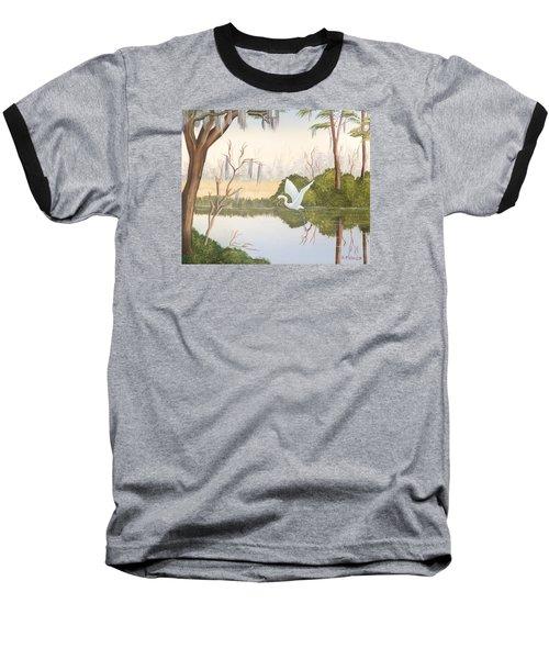 Egret In Flight 1 Baseball T-Shirt by Denise Fulmer
