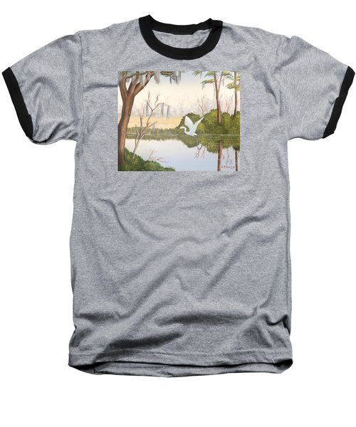 Egret In Flight 1 Baseball T-Shirt