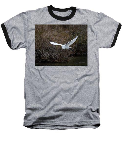 Egret In Flight Baseball T-Shirt by George Randy Bass