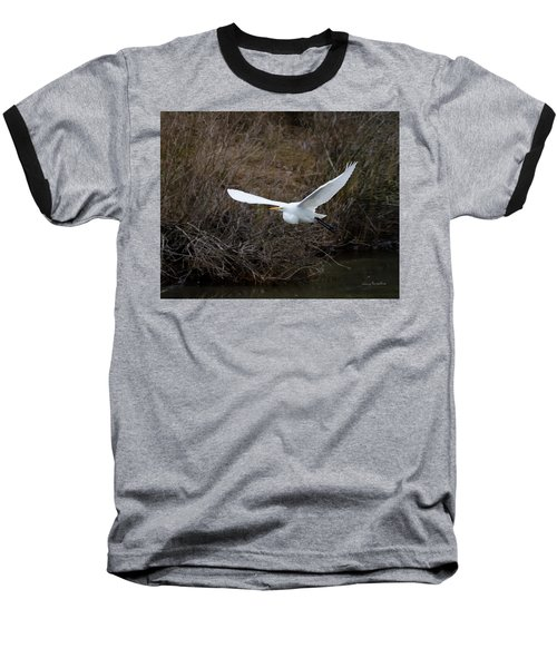 Egret In Flight Baseball T-Shirt